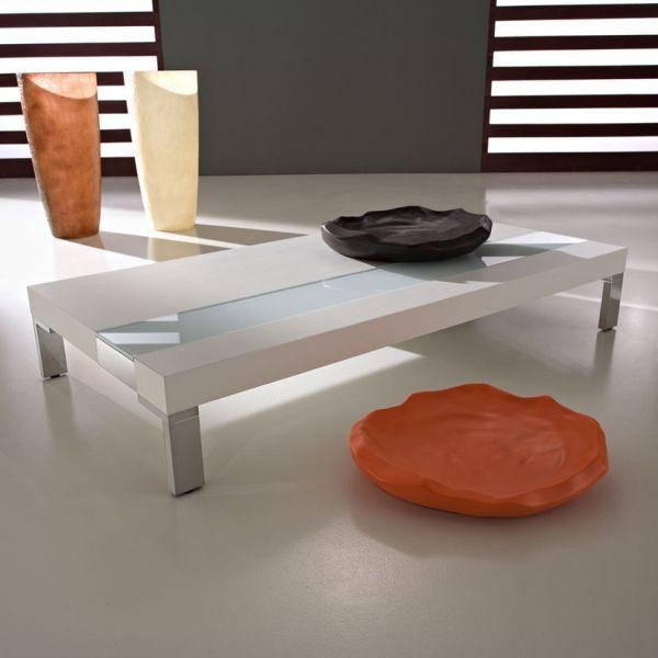 Tavolo basso da salotto in laminato vetro e metallo Aldar