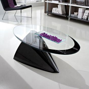 Dalvin tavolino in vetro da soggiorno ellittico 100 x 55 cm