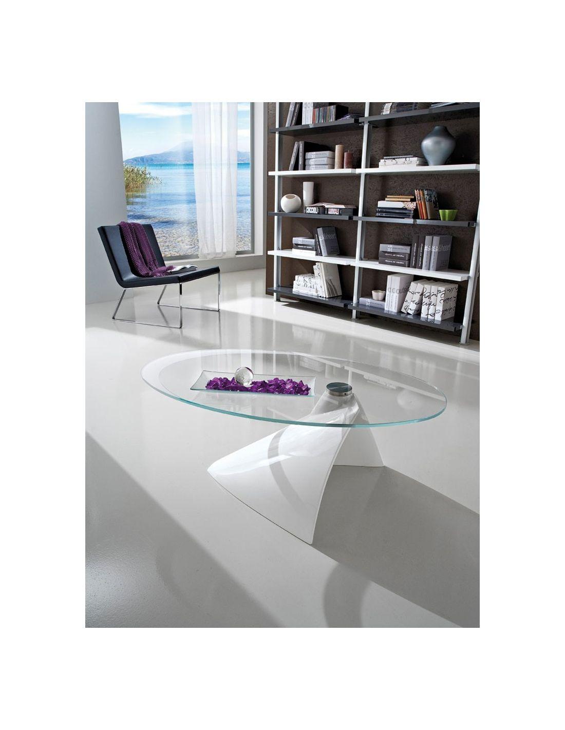 Dalvin tavolino in vetro da soggiorno ellittico 100 x 55 cm - Tavolino soggiorno ...