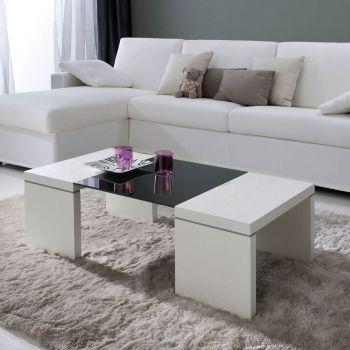 Gumi tavolino da caffe' DESIGN moderno in legno e vetro 110 x 55 cm