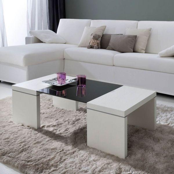Gumi tavolino da caffe' moderno in legno e vetro 110 x 55 cm
