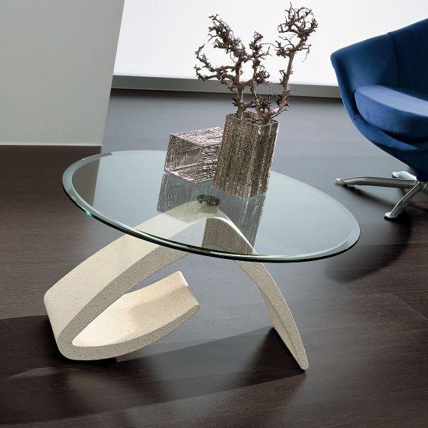 Dettagli su NOEL tavolino DESIGN per sala con piano in vetro rotondo  bisellato 85 cm