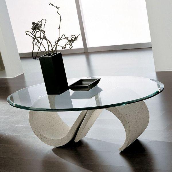 Tavolo da salotto moderno in vetro ovale bisellato 120 x 70 cm Reynald
