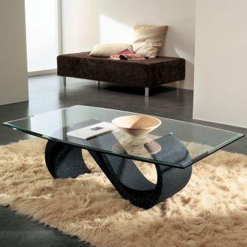 Runi tavolino salotto in vetro moderno ovale 120 x 70 cm