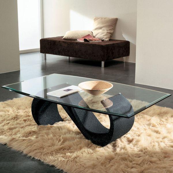 Tavolino salotto in vetro moderno ovale 120 x 70 cm Runi