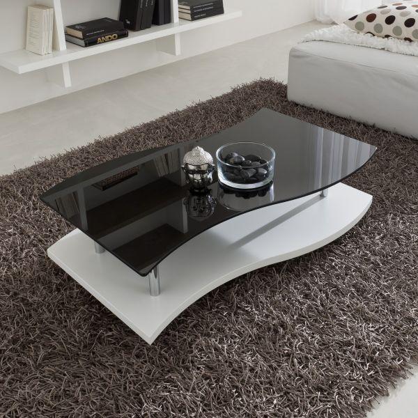 Tavolino design da salotto in legno e vetro 103 x 65 cm Steinar
