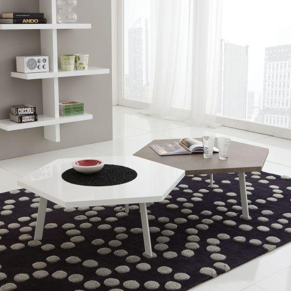 Kimi coppia tavolini esagonali in legno bianco 90 x 78 cm