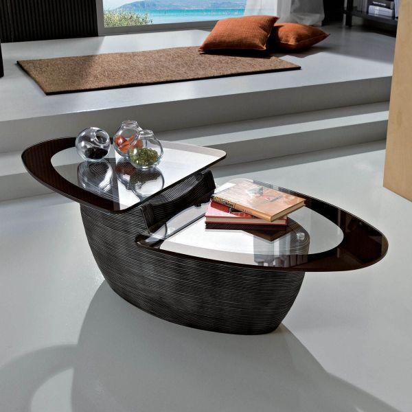 Caravel tavolino in ceramica con piano in vetro 110 x 55 cm