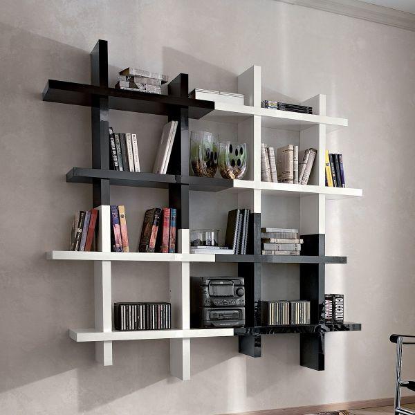 Edmond libreria pensile in legno bianco e nero lucido 166 x 166 cm