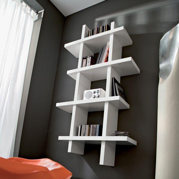 Libreria porta DVD da parete in legno laccato lucido Samuel