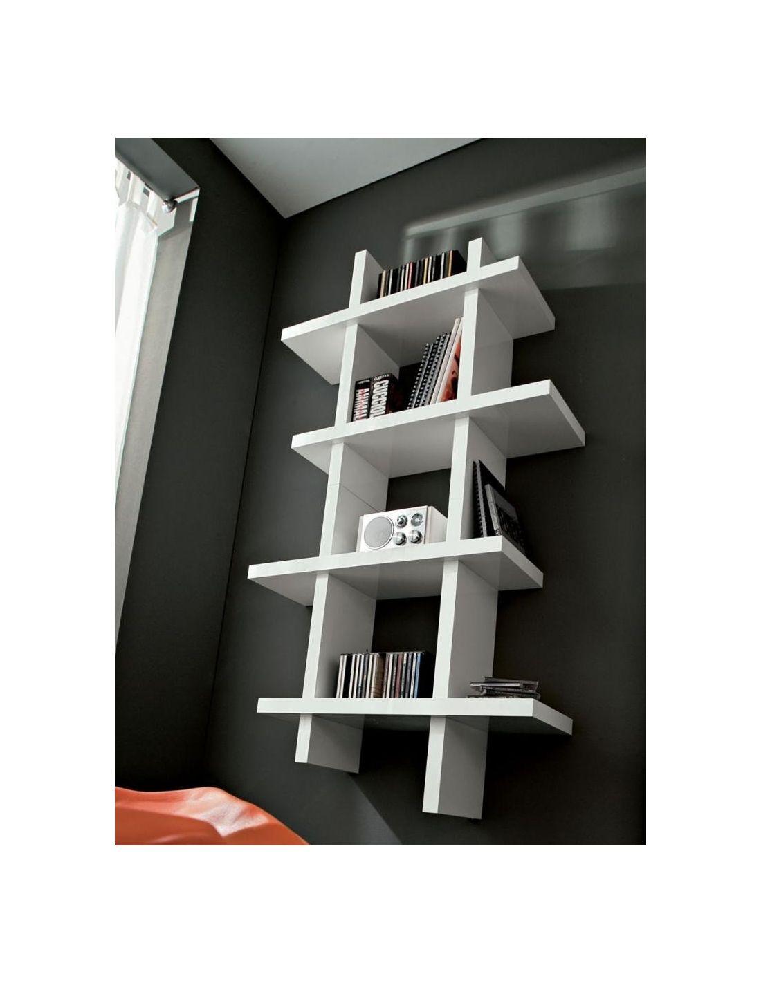 Libreria porta dvd da parete in legno laccato lucido samuel - Porta dvd in legno ...