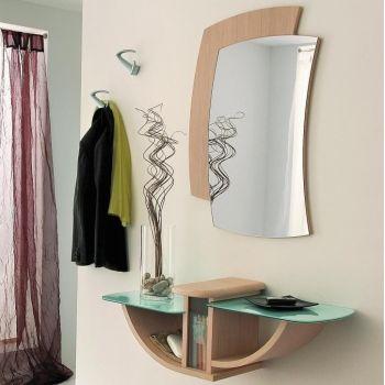 Composizione Yannick per ingresso consolle specchiera Rovere Chiaro