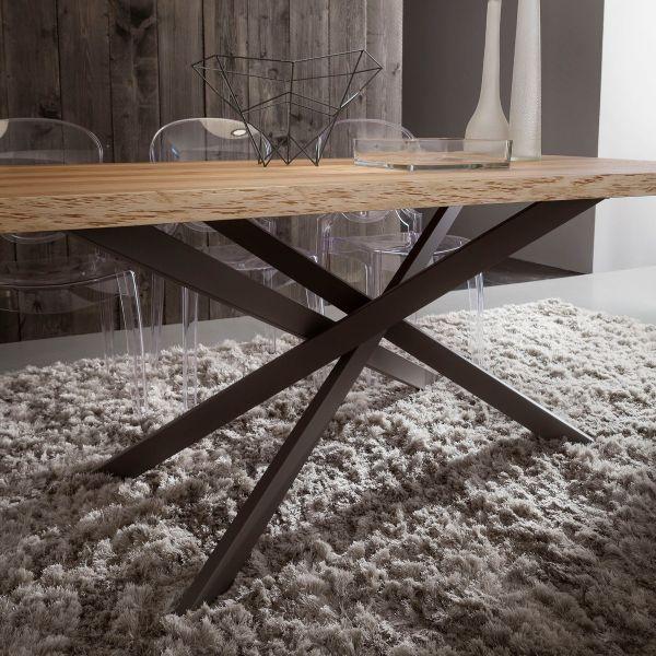 Tavolo da pranzo moderno arsenio fisso con piano in legno for Tavolo pranzo altezza