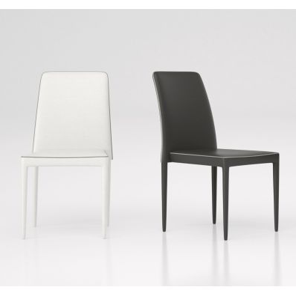 Filotea sedia impilabile moderna in metallo ed ecopelle Bianco Antracite