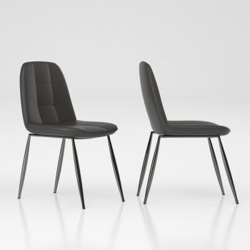 Dimitra sedia imbottita in metallo ed ecopelle Bianco Antracite