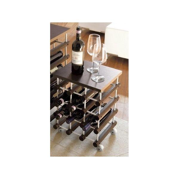 Cantinetta portabottiglie top12 su ruote modulare in legno - Portabottiglie di vino in legno ...