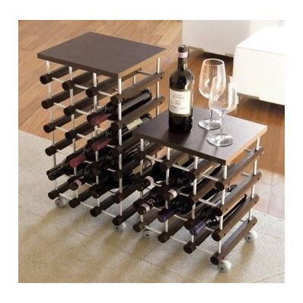 Cantinetta porta bottiglie top18 su ruote modulare in legno - Porta bottiglie ...