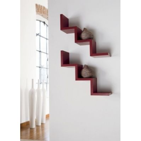 Mensola Laddy da parete a forma di scala gradino in legno