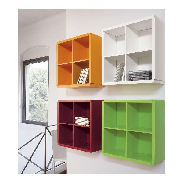 Teca Show Me portaoggetti in legno 40 x 40 cm Bianco Wenge' Arancio Rosso Verde