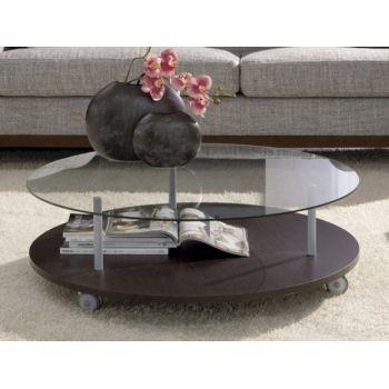 Tavolino BreakTime rotondo da salotto in vetro e legno 90 cm