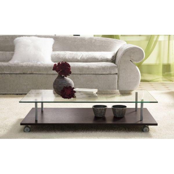 Tavolino rettangolare da salotto in legno e vetro 120 x 60 cm BreakTime