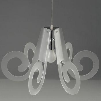 Lampadario sospensione Ricciolino in plexiglass trasparente o satinato