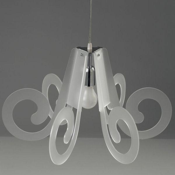 Lampadario sospensione in plexiglass trasparente Ricciolino