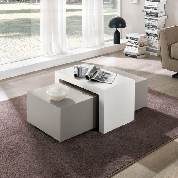 Blakey tavolini sovrapponibili in legno MDF bianco tortora 110 cm