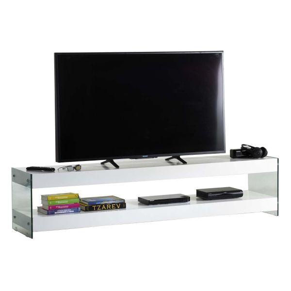 Mobile porta TV in legno e vetro bianco 200 cm Clubber