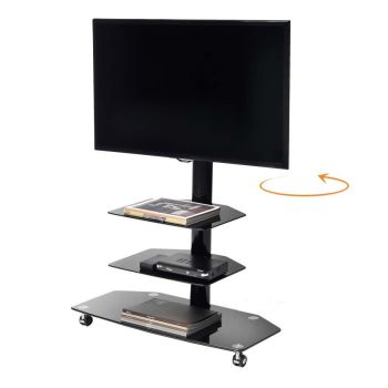Carrello porta TV M3001L girevole in metallo e vetro 50 pollici