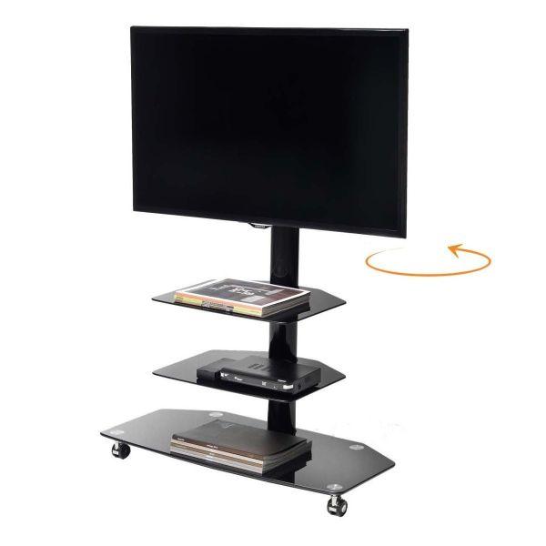 Carrello porta tv girevole su ruote m3001l in metallo e vetro 50 pollici for Mobile porta tv girevole design