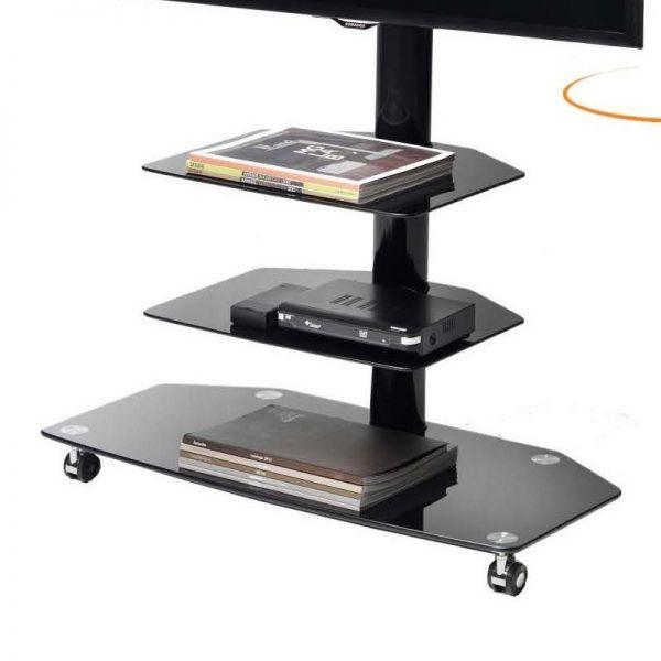 Carrelli Porta Tv Lcd.Dettagli Su Carrello Su Ruote Porta Tv Runner Girevole In Metallo E Vetro 50 Pollici
