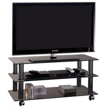 York mobile porta televisore in cristallo su ruote 90 cm