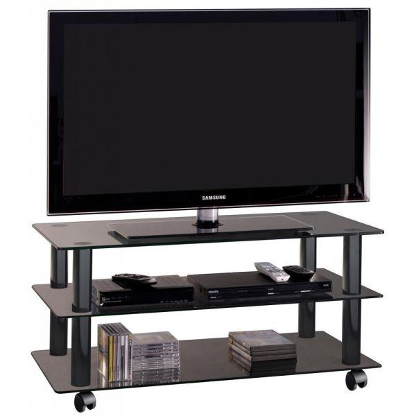 Poker mobile porta televisore in cristallo su ruote 90 cm
