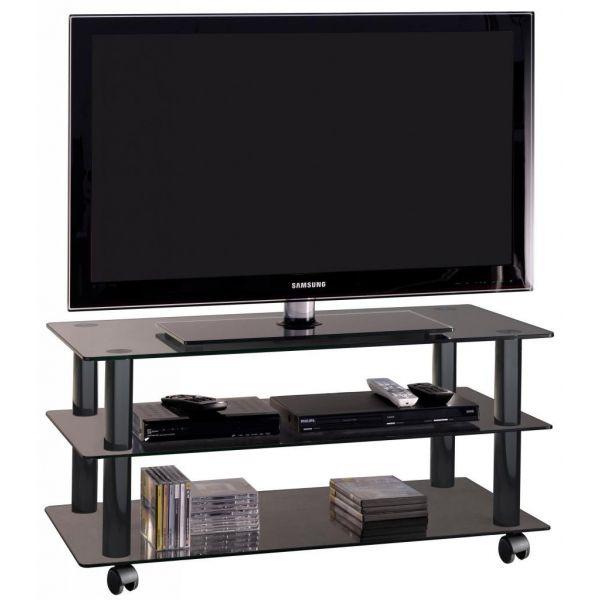 Poker mobile porta televisore in cristallo carrello su ruote 90 cm ebay - Porta televisore in vetro ...
