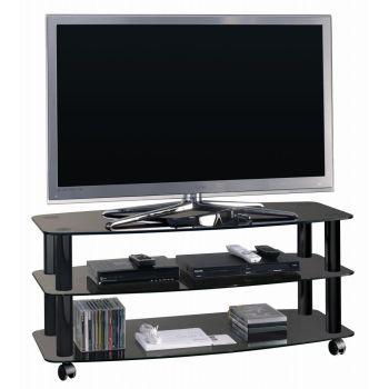 Frantic porta televisore con ripiani in cristallo su ruote 100 cm