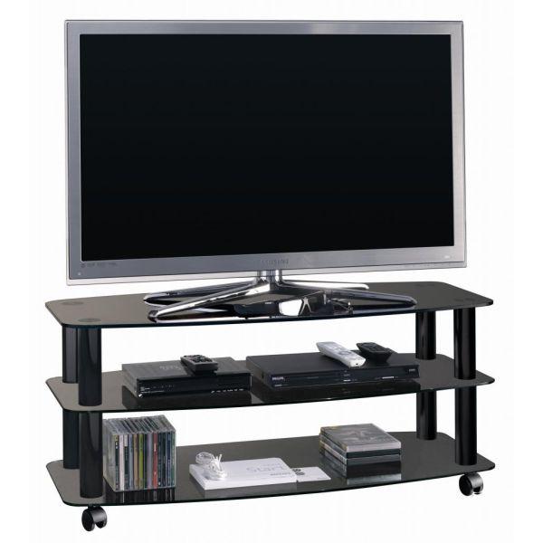 Carrello porta TV con ripiani in vetro nero Frantic