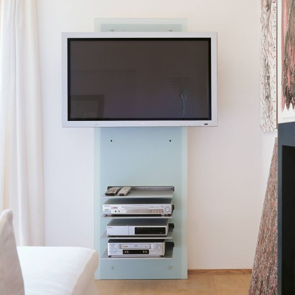 Mobile porta tv design da parete william in cristallo con for Mobili a parete