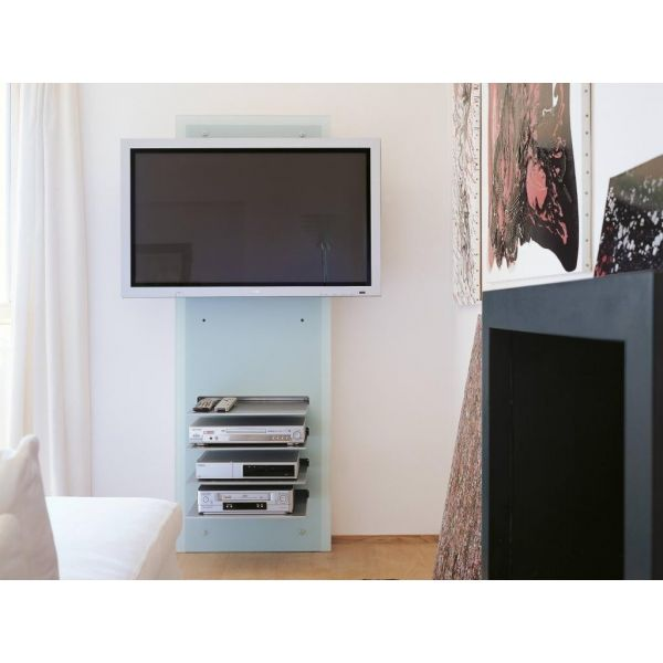 Mobile porta tv design da parete william in cristallo con for Porta tv 50 pollici