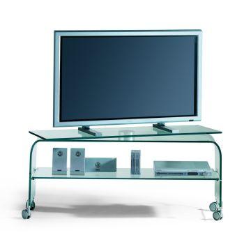 Porta TV in vetro curvato Reflex con piano girevole su ruote 120 cm