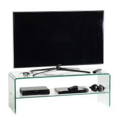 Porta TV Glass110 in cristallo curvato trasparente 110 cm