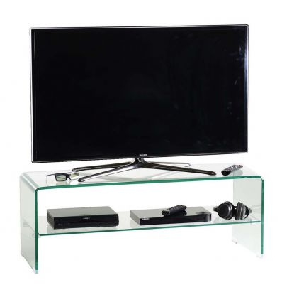 Porta tv glass110 in cristallo curvato trasparente 110 cm - Mobiletto porta dvd ...