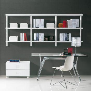 Libreria scaffale Big 6 pensile in acciaio componibile 245 x H106 cm