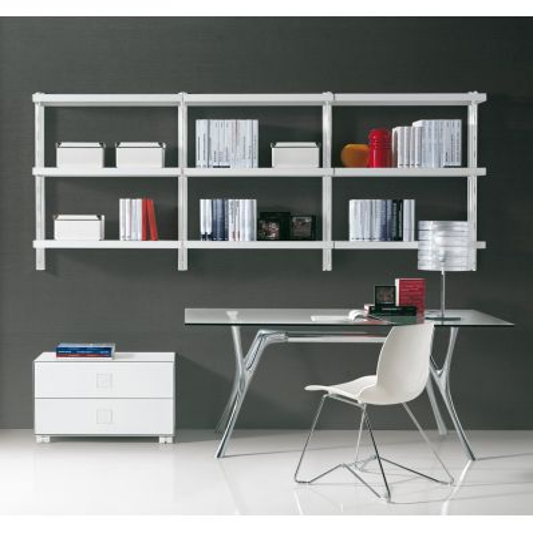 Libreria scaffale pensile in acciaio componibile 245 x H106 cm Big 6