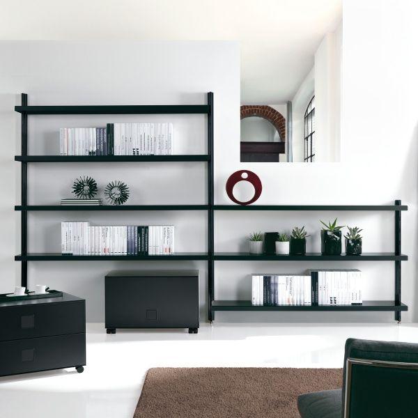 Kayden libreria scaffale design in acciaio Bianco Nero Grigio 325 x H203 cm