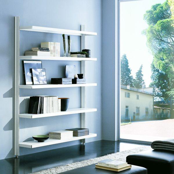 Brody libreria a giorno da parete in acciaio e alluminio 125 x H203 cm