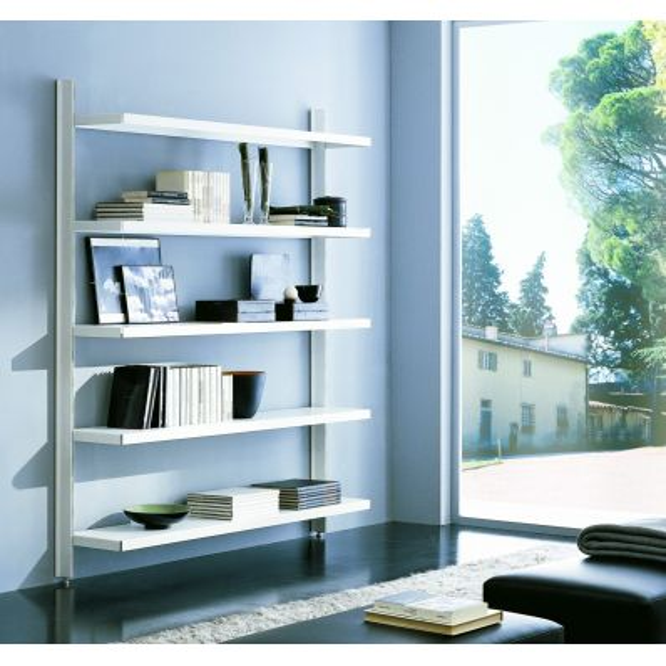 Libreria a giorno da parete in acciaio e alluminio 125 x H203 cm Big 13