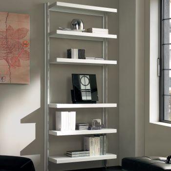 Big 15 scaffale da soggiorno in acciaio bianco grigio 85 x H203 cm