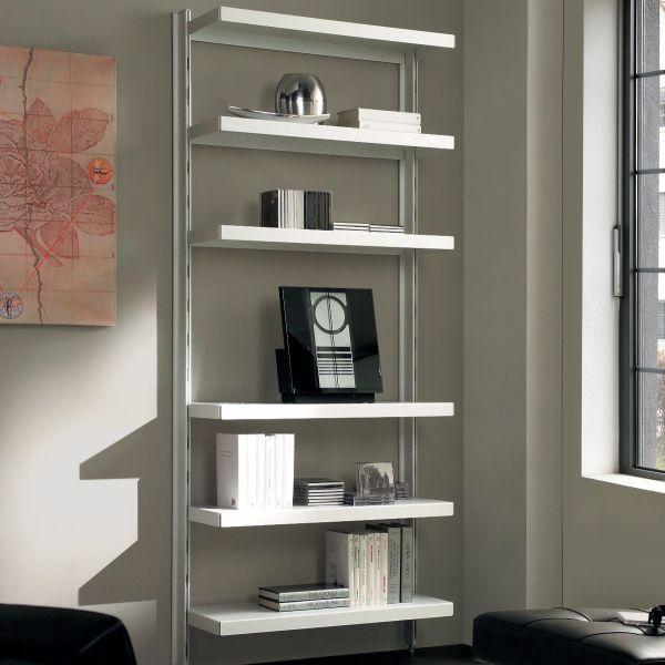 Nolan scaffale da soggiorno in acciaio bianco nero grigio 85 x H203 cm