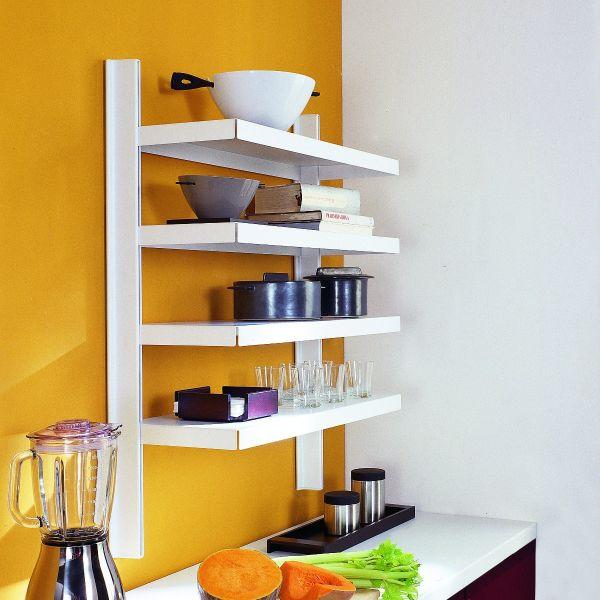 Scaffale a parete in acciaio per cucina bianco grigio Big 11